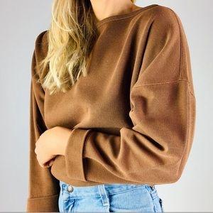 Vintage Cotton Rust Ribbed Oversized Crewneck Top